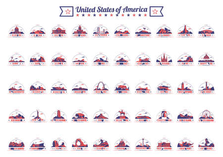 collection of fifty united states and landmarks