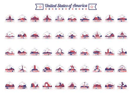 Sammlung von fünfzig Vereinigten Staaten und Sehenswürdigkeiten Vektorgrafik
