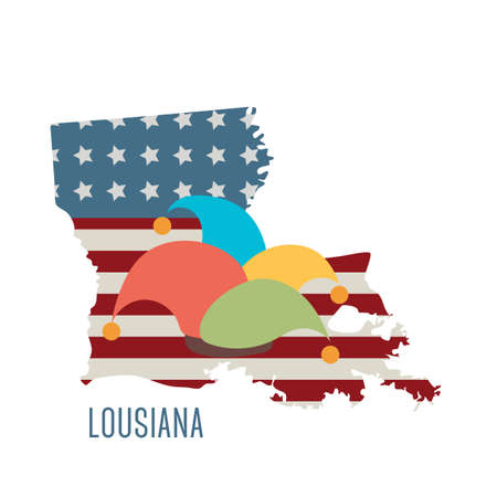 jester hat: lousiana state map with mardi gras jester hat