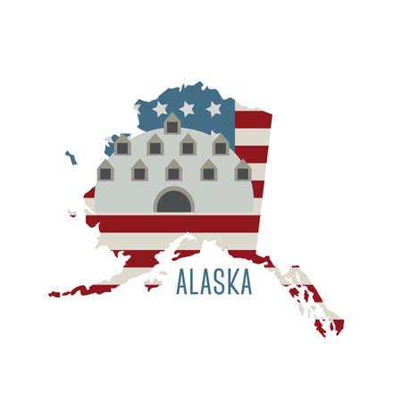 abandoned building: alaska state map abandoned igloo city hotel Illustration