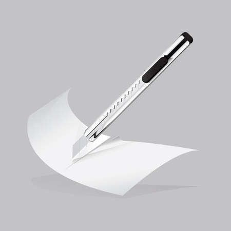 penknife: penknife cutting paper