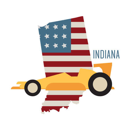 indiana: indiana state map with race car