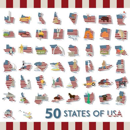 collectie van vijftig staten van de VS Stock Illustratie