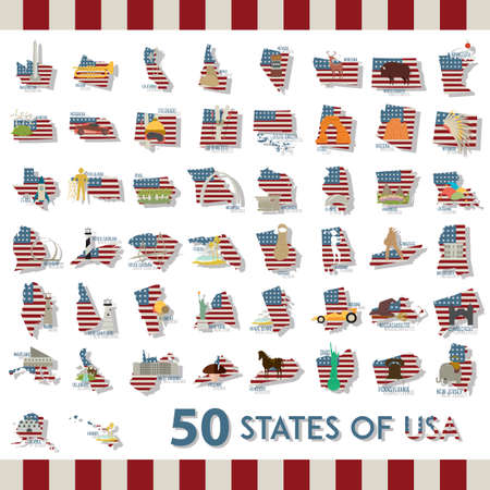collection of fifty states of usa Stock fotó - 53295348