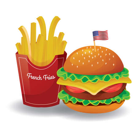 fries: french fries with burger Illustration