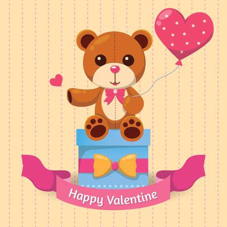 balloons teddy bear: happy valentine card Illustration