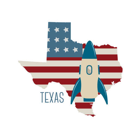 houston flag: texas state map with spacecraft Illustration