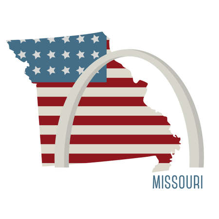 gateway: missouri state map with st. louis gateway arch Illustration