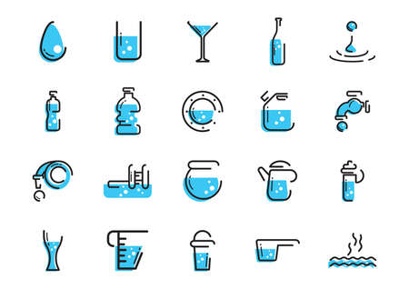 various water icons set Illustration