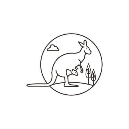 joey: kangaroo with joey Illustration