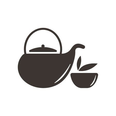 Refreshments: teacup and teapot Illustration
