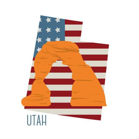 デリケート ・ アーチとユタ州地図  イラスト・ベクター素材