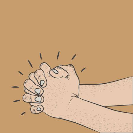 folded hands: hands folded together in prayer Illustration