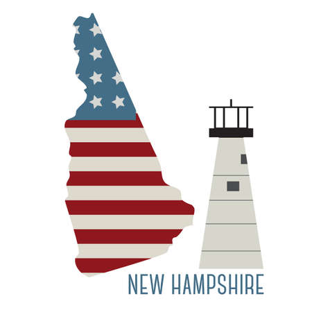 portsmouth: new hampshire state with portsmouth harbor light Illustration