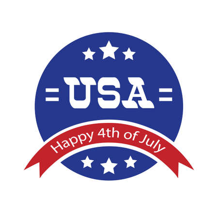 fourth of july: happy fourth of july label Illustration