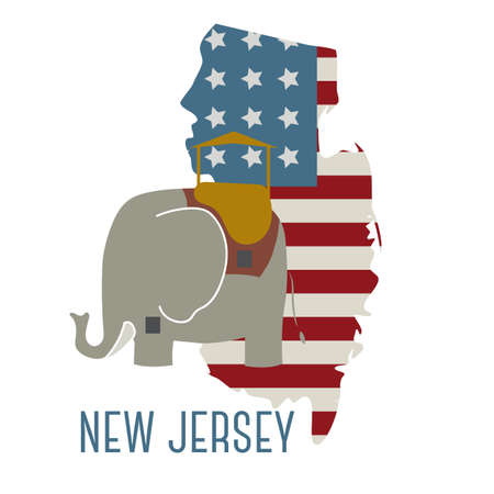new jersey: new jersey state map with lucy the elephant