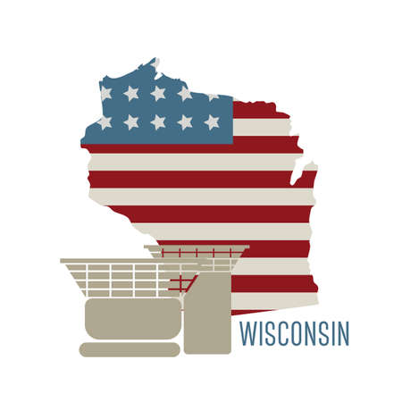 wisconsin state: wisconsin state map with house on rock