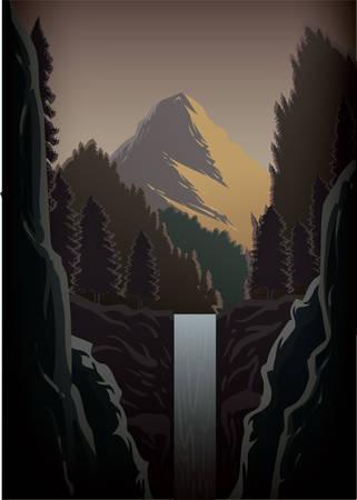 cascade mountains: waterfall landscape