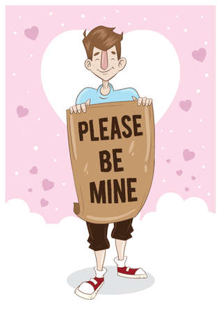 be mine: man holding please be mine paper