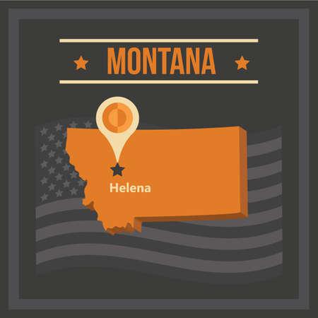 モンタナ州の地図  イラスト・ベクター素材