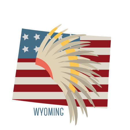 wyoming: wyoming state map with indian war bonnet