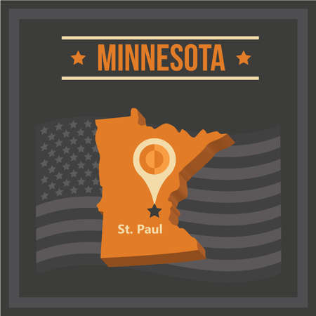 paul: map of minnesota state Illustration