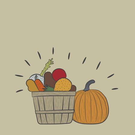 fruit basket: pumpkin with a fruit basket Illustration