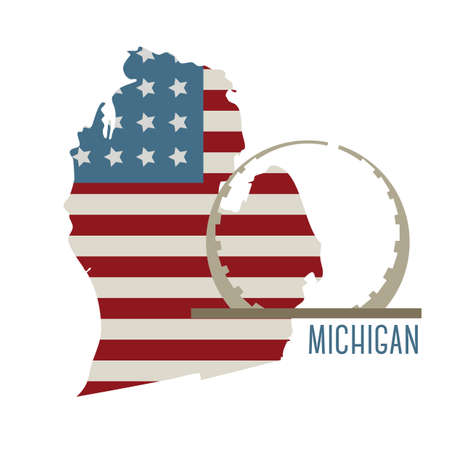 legacy: michigan state map with labor legacy landmark Illustration