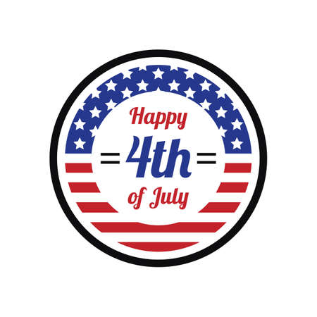 fourth july: happy fourth july label Illustration