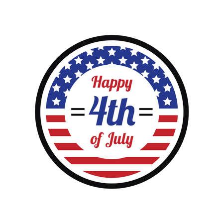 fourth of july: happy fourth july label Illustration