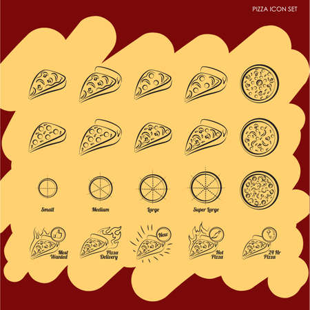 pizza crust: pizza icon set Illustration