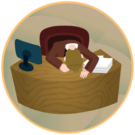 exhausting: tired businessman sleeping on his desk