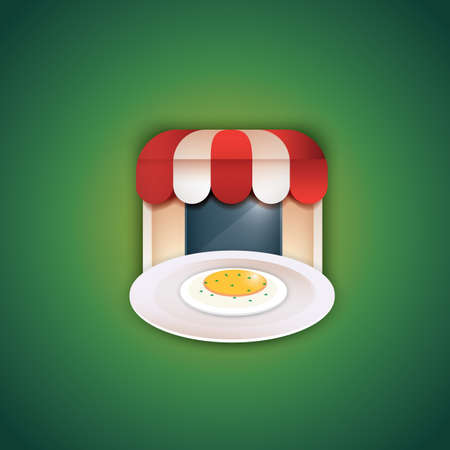 fried: plate with fried egg and restaurant