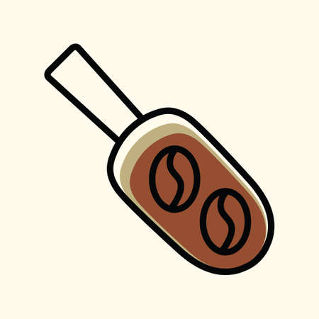 coffee beans: coffee beans on spatula Illustration