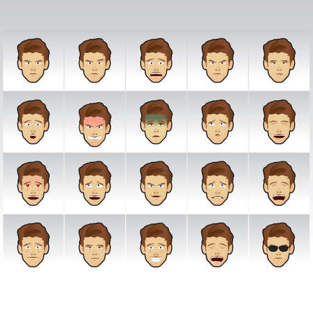 shocking face: man with various expressions collection Illustration