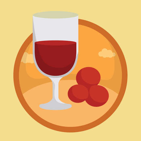 red berries: wine glass with red berries Illustration