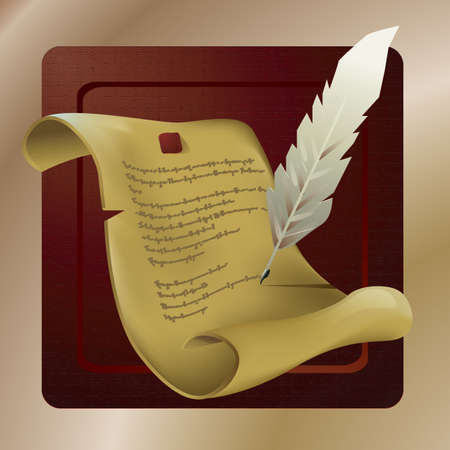 scrool: parchment with feather Illustration