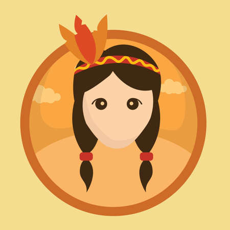 red indian: red indian girl with feather headband