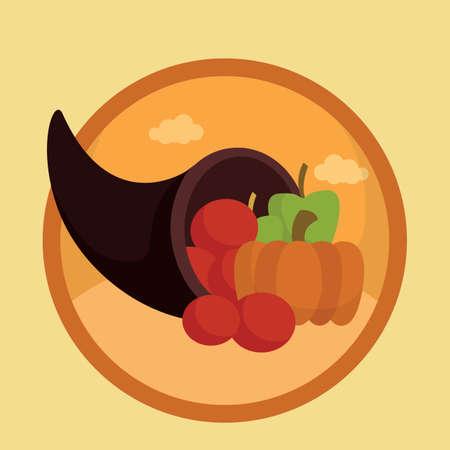 cornucopia: cornucopia con las frutas Vectores