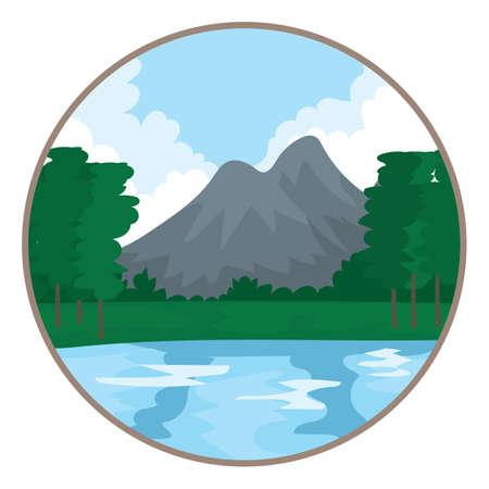 mountain view: scenic view of mountain and lake Illustration