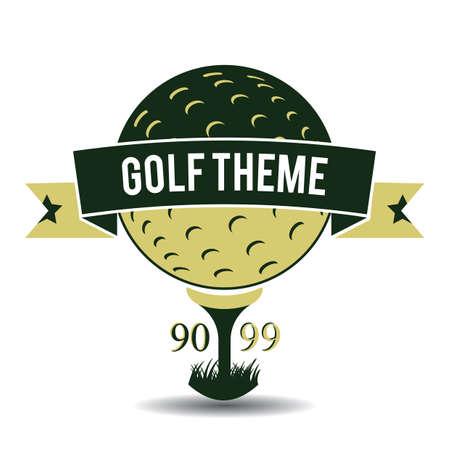 theme: golf theme label Illustration