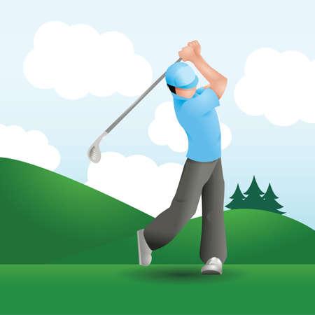 hit man: man striking golf ball