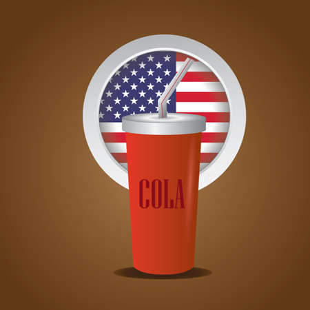 cold drink: cold drink with usa badge Illustration