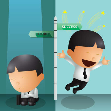 differentiation: differentiation between failure and successful businessman
