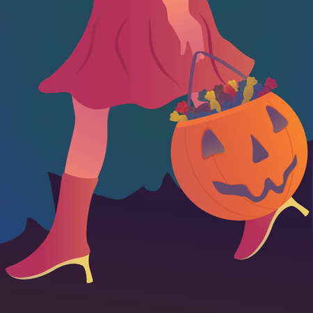 carrying: girl carrying trick or treat basket with candies