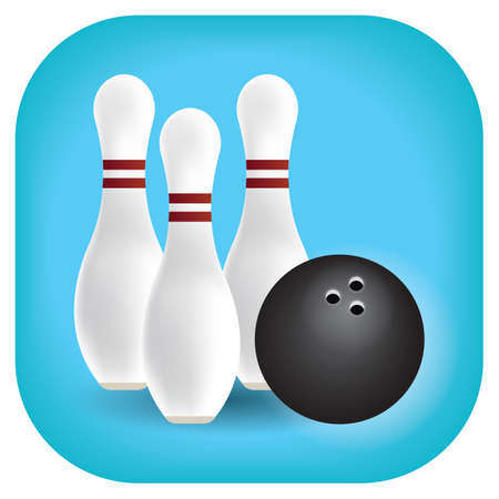 bowl game: bowling pins and ball