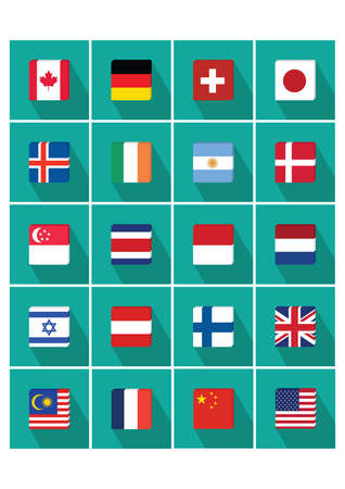singaporean flag: collection of country flags Illustration