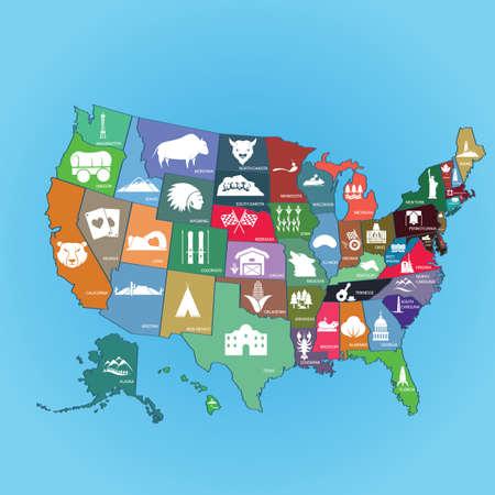collectie van ons state maps Vector Illustratie
