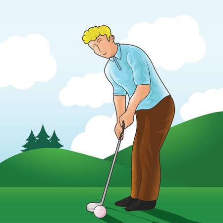 El hombre de golpear una pelota de golf