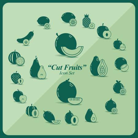 cut fruits icon set